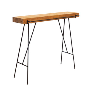 Natural Teak Counter Console Table with Rail