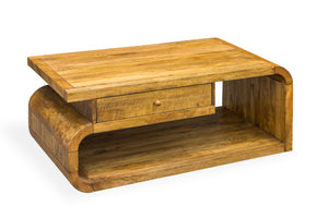 Arco Mango Wood Coffee Table with Drawer