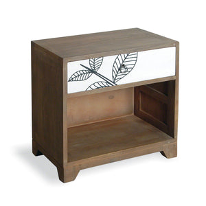 Artisan Lamp Table with Drawer - White Print