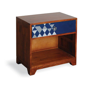 Artisan Lamp Table with Drawer - Navy Print