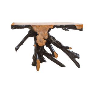 Black Teak Root Console Table