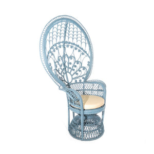 Blue Rattan Occasional Peacock Chair