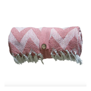 Blush Chevron Organic Cotton Throw