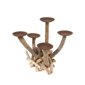 Driftwood Five Arm Candelabra Candle Holder Centrepiece