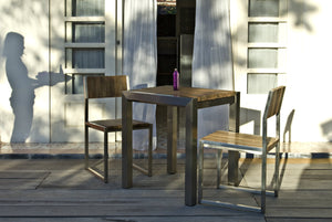 Grade A Teak Square Garden Bistro Table Weathered Grey - Table Only