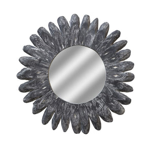 Grey Daisy Teak Root Wall Mirror