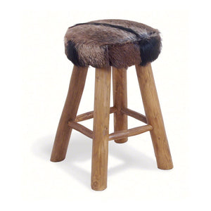 Hide and Teak Medium Bar Stool