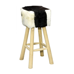 Hide & Teak Bar Stool Square