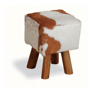 Hide & Teak Low Stool Square