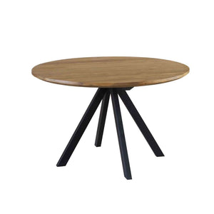 Java Natural Teak Dining Table with Black Legs