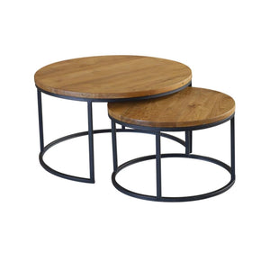 Java Natural Teak Set of Two Nesting Tables