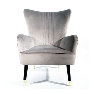 Kensington Velvet Accent Armchair - Contemporary Grey