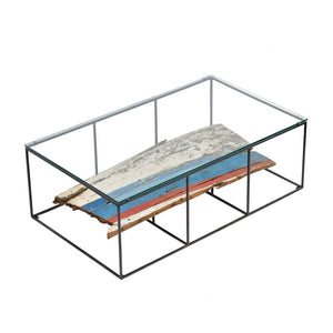 KLEO Recycled Wood Glass Coffee Table