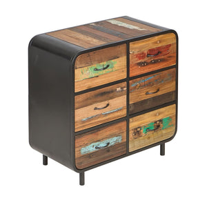 KLEO Recycled Wood Industrial 6 Drawer Chest