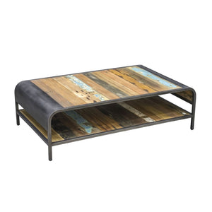 KLEO Recycled Wood Industrial Coffee Table with Shelf