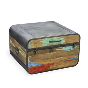 KLEO Recycled Wood Industrial Steamer Trunk Storage Table