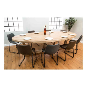 Large Solid Teak Natural Oval Dining Table 3.5m