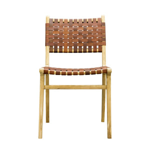 Leather Strapping Dining Chair Teak and Tan