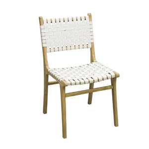 Leather Strapping Dining Chair Teak and White