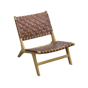 Leather Strapping Marlboro Chair Teak and Tan