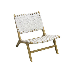 Leather Strapping Marlboro Chair Teak and White