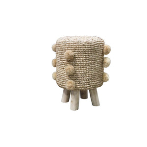 Natural Rattan Pom Pom Stool