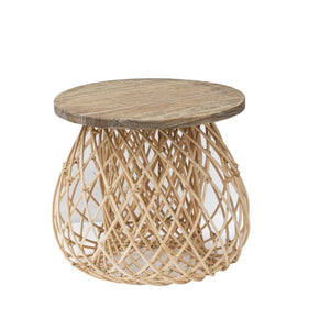 Natural Rattan Woven Side Table