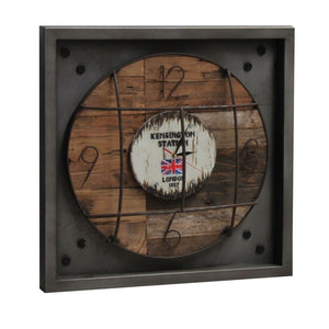 Reclaimed Teak Kensington Station London Wall Clock