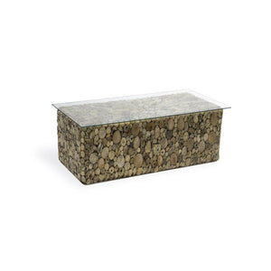 Rectangular Driftwood Coffee Table With Glass Top Puji