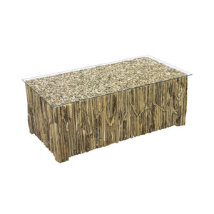 Rectangular Driftwood Glass Top Coffee Table