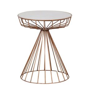 Retro Chic Copper Ceramic Top Side Table