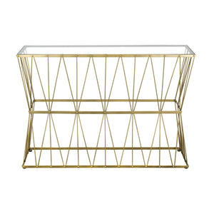 Retro Chic Glass Top Gold Console Table