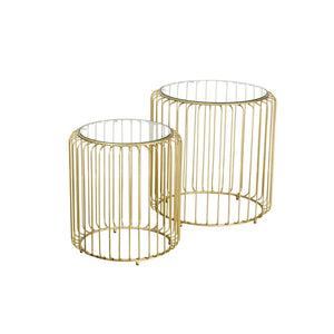 Retro Chic Glass Top Gold Set of Side Tables