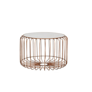 Retro Chic Round Coffee Table - Copper with Ceramic Top