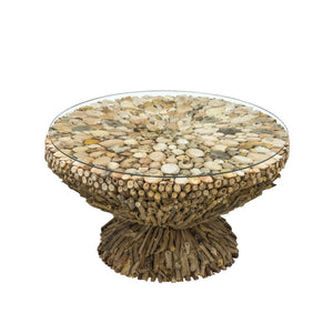 Round Driftwood Glass Top Coffee Table