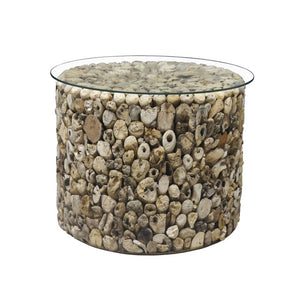 Round Driftwood Glass Top Low Side Table