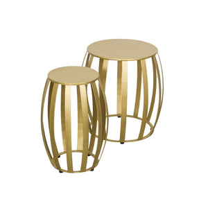 Round Retro Chic Set of 2 Gold Side Tables