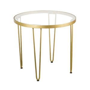 Round Retro Chic Side Table with Glass Top