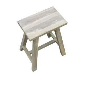 Rustic Grey Teak Stool / Side Table Set of 2