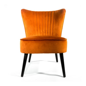 Scalloped Velvet Cocktail Chair - Rust Orange