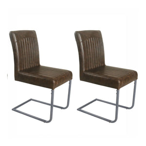 Set of 2 Retro Cantilever Faux Leather Dining Chairs (£95 each) - Chestnut