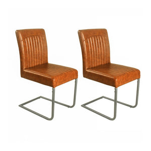 Set of 2 Retro Cantilever Faux Leather Dining Chairs (£95 each) - Tan