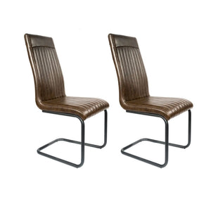 Set of 2 Slimline Retro Cantilever Faux Leather Dining Chairs (£97.50 each)