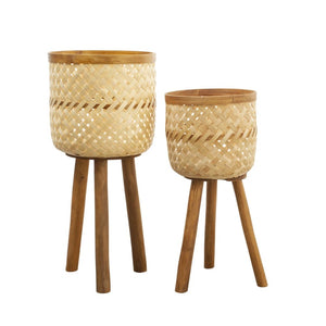 Set of Natural Rattan Bamboo Planters