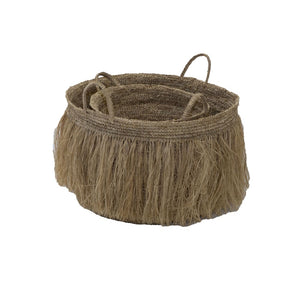 Set of Natural Rattan Tassel Fringed Baskets