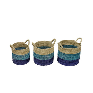 Set of Three Blue Stripe Seagrass Baskets