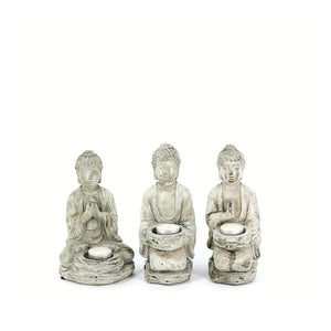 Set of Three Buddha Statue Tealight Holders