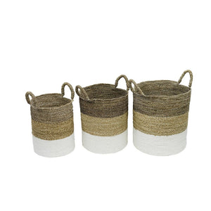 Set of Three Natural Woven Seagrass Baskets