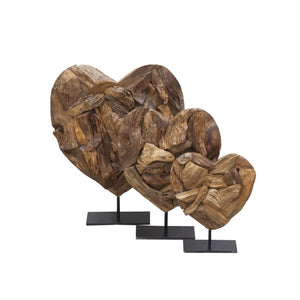Set of Three Teak Heart Sculptures Black Stand