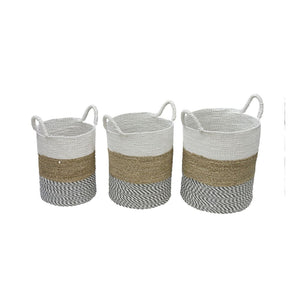 Set of Three White Top Seagrass Baskets